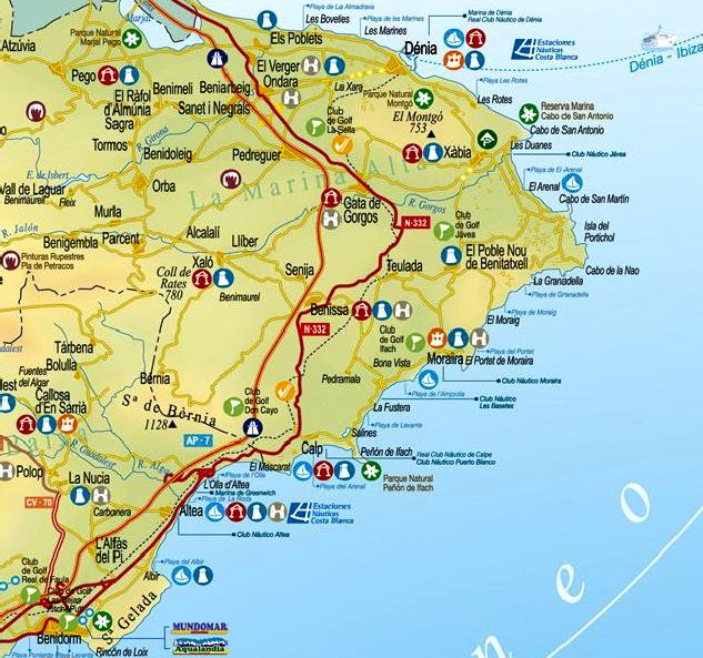 Karta Fran Alicante Till Torrevieja.Polop Arkiv Ditte Akker