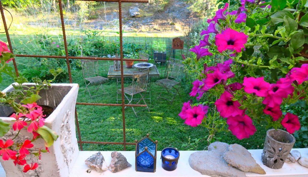 trädgård, altan, färg och form