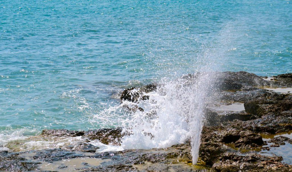 Flera olika erbjudanden och svalkande dusch funns. Här Medelhavet.