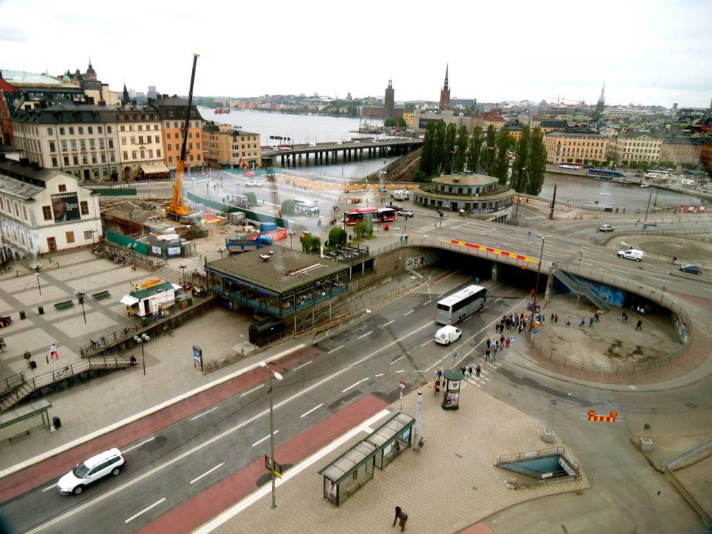 Slussen området i Stockholm innan rivningen. Bild från 2014.