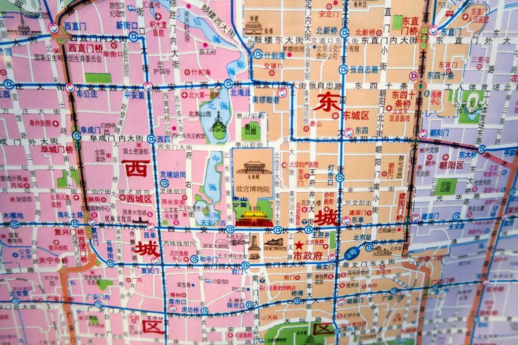 Att läsa en karta över Peking där det står på kinesiska är en utmaning.