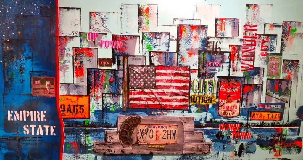 """Mycket färg är det i denna New Yorkmålning av Emanuel Fredriksson. Finns i Södermalms konsthall i """"Skrapan"""""""