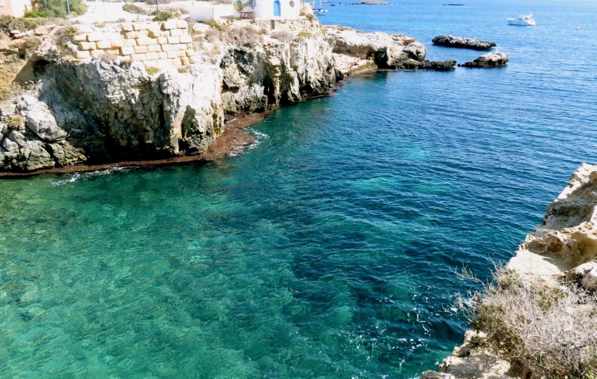 Vatten klart som kristall hittade vi på ön Tabarca strax norr om Torrevieja.