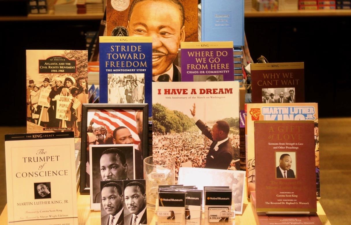 Aktuell är utställningen på Nobelmuseet om Martin Luther King och hans kamp för rätten till frihet.