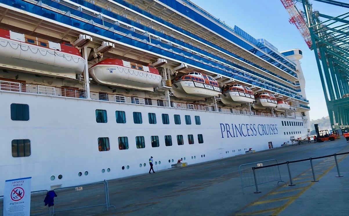 Kryssningsfartyget Star Princess är redo att lämna hamnen i San Antonio.