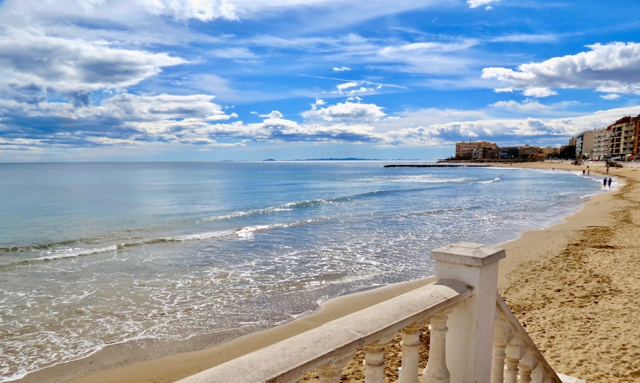 I mars 2018 var Playa de Los Locos in takt. Inget regn hade då dragit med sig stranden till havs.