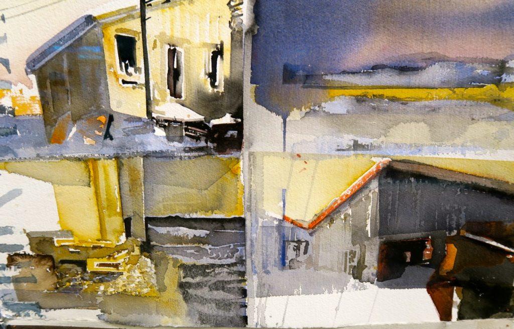 Lars Lerin och en av alla målningar som finns på Sandgrund,i Karlstad, konstnärens permanenta konsthall.konsthall.