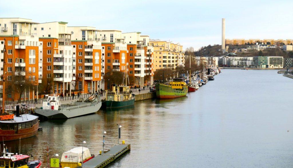 Utsikt från Skansbron över Norra Hammarbyhamnen.