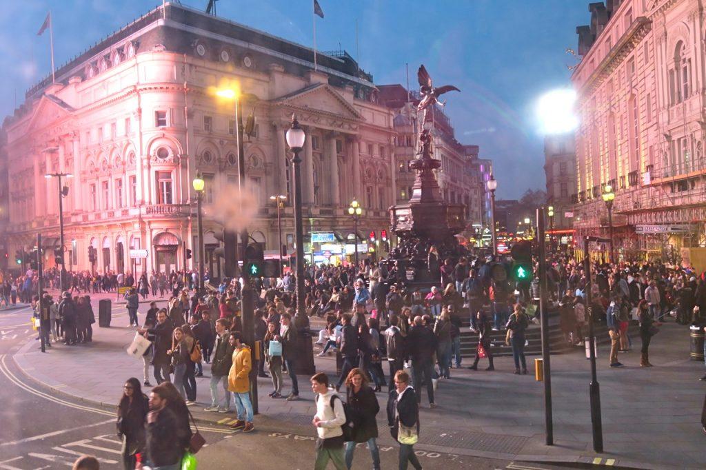 Piccadilly Circus- samlingspunkt mitt i London