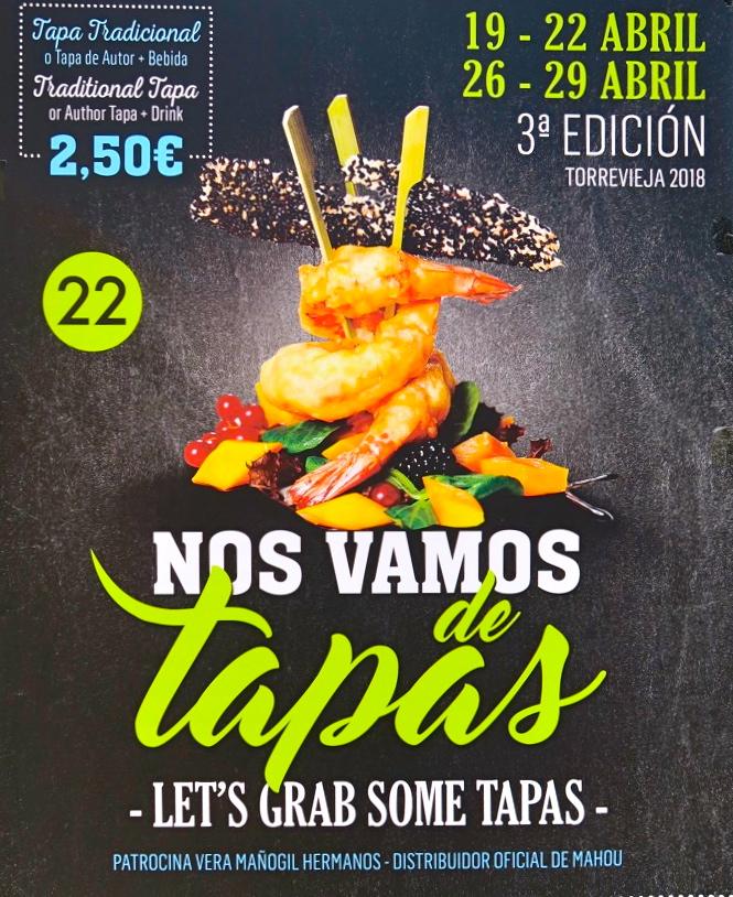 Tapas, smakprov erbjuds detta veckoslut i Torrevieja