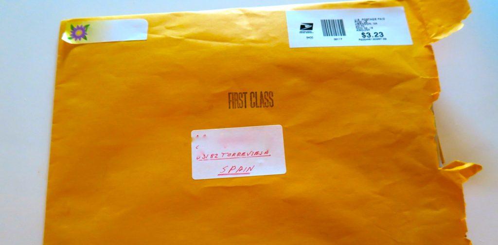 Ett brev levererades i vår spanska brevlåda. Ett brev från USA.