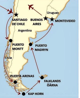 En resa i Sydamerika, från Chile, via Kap Horn och till Argentina står på tur att genomföras i februari 2019.