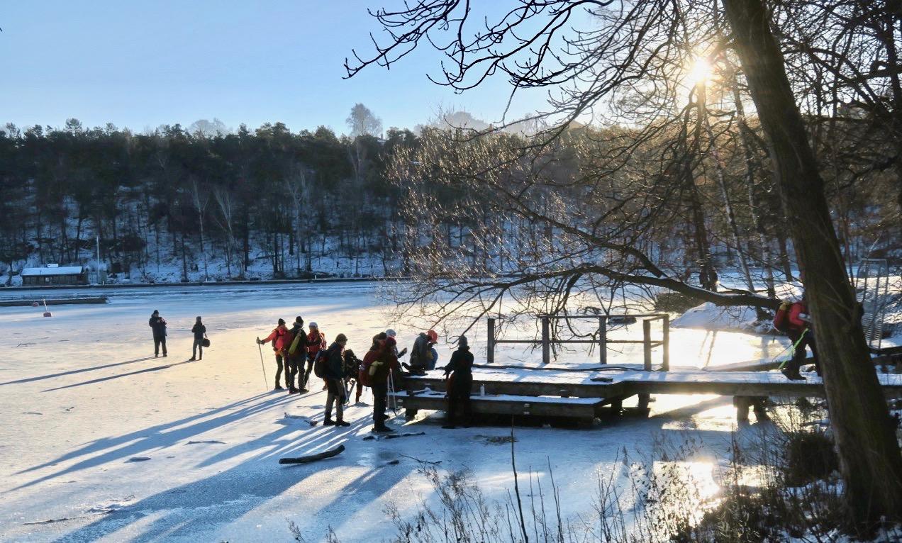 Denna vintersöndag var det många som testade isen på Årstaviken.