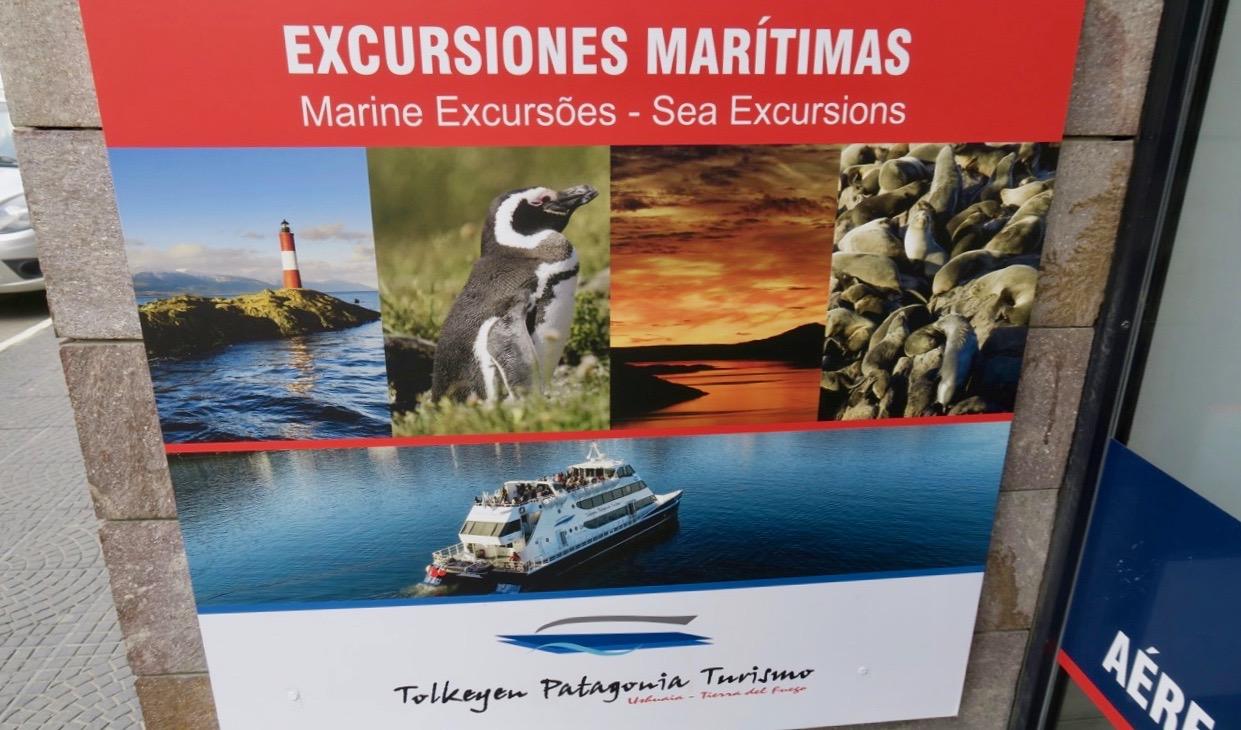 Många olika utflykter erbjuds med utgångspunkt i Ushuaia.