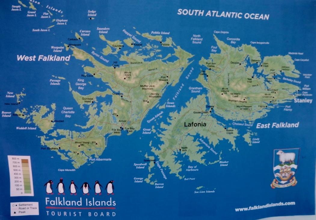 Falklandsöarnas huvudstad, Stanley, ligger i den östra delen av Östra Falklandsöarna.