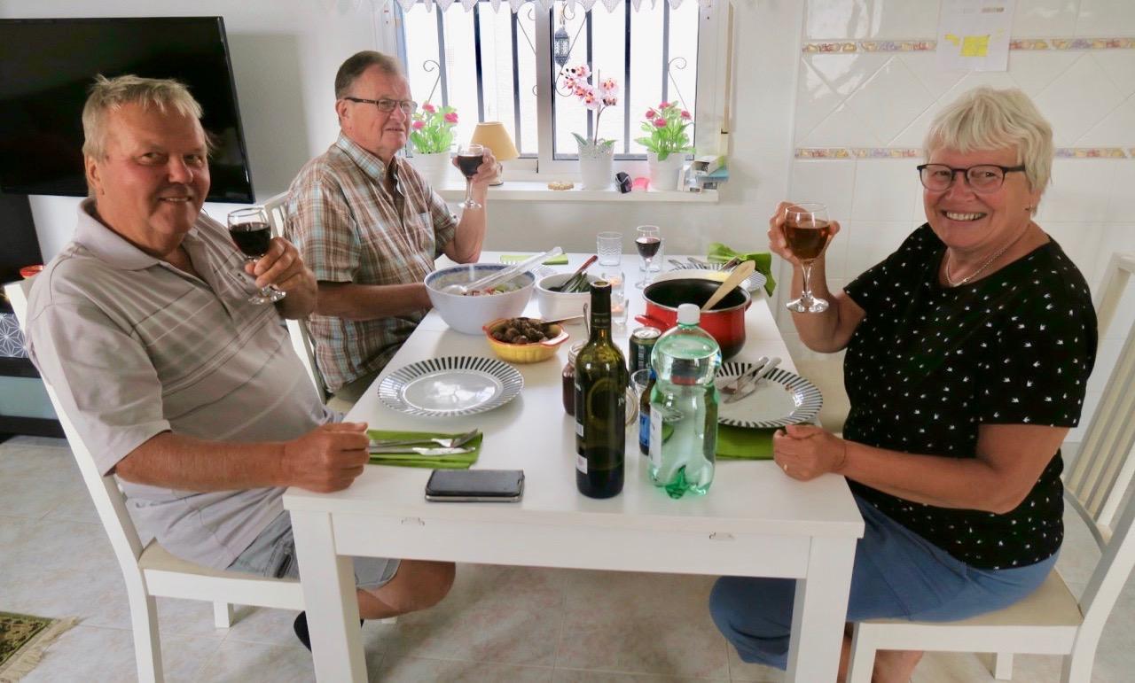 Älggryta och älgköttbullar med grönsaker och sallad blev en överraskande middag. Västerbottentema fullt ut.