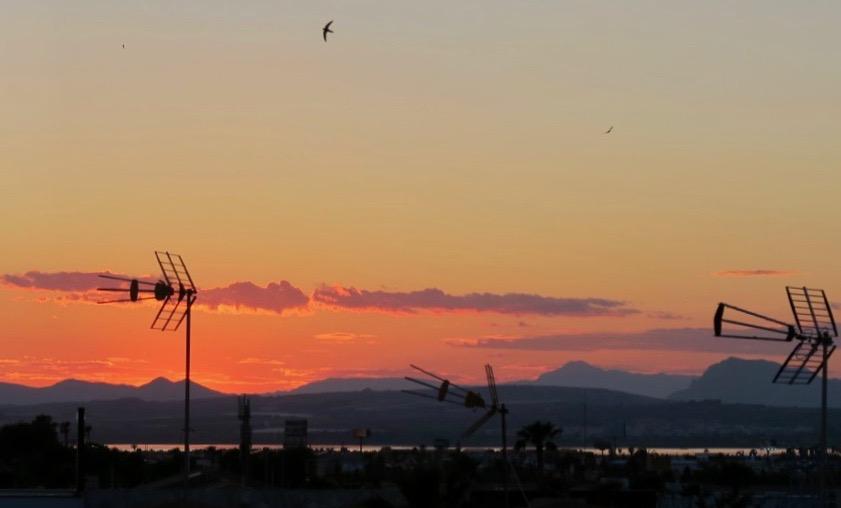 Söndagskvällens vackra solnedgång vare verkligen inte kantig
