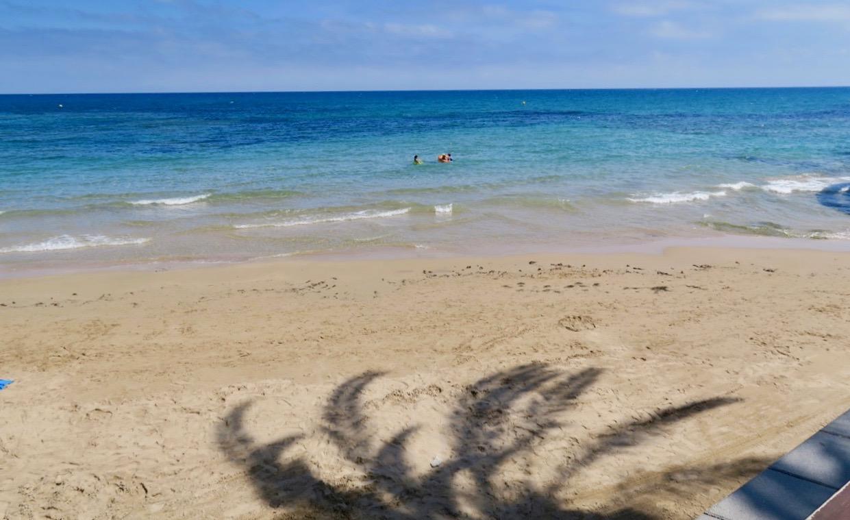 Från strandrestaurangens skugga kan man göra en hel del iakttagelser. Här finns även palmens skugga med.