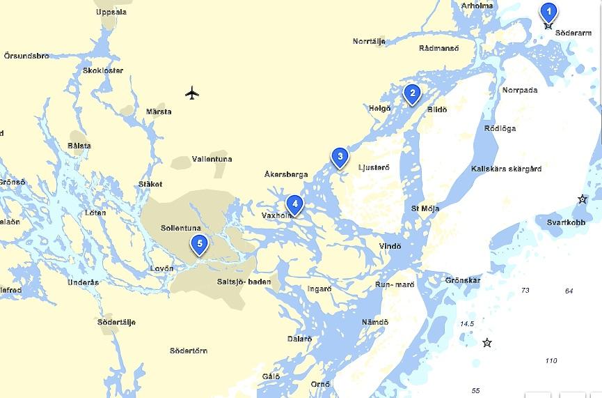 Karta äver delar av Stoclholms skärgård. Den norra delen.
