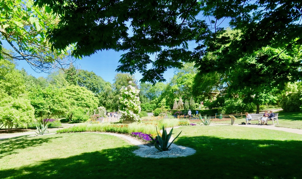 Inne i den botaniska trädgården finns 30 olika planer/områden-