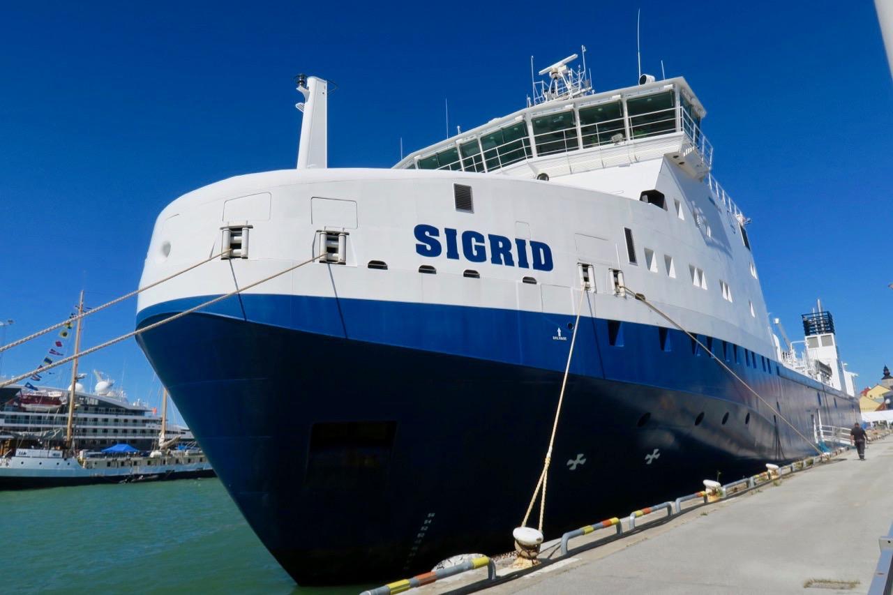 M/S Sigrid som transporterar radioaktivt avfall fanns under Almedalsveckan i Visby hamn.