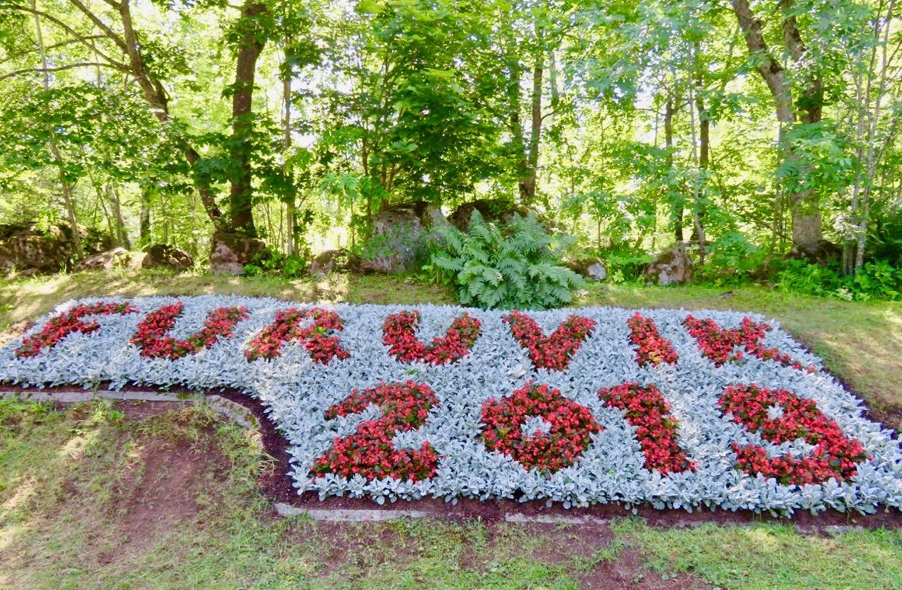 Furuviksparken välkomnar med blommor.
