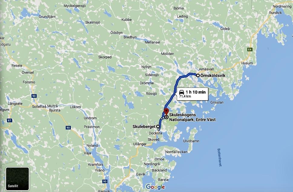 Karta som visar vägen från Örnsköldsvik till Skuleberget och Skuleskogen. Olika entréer finns.