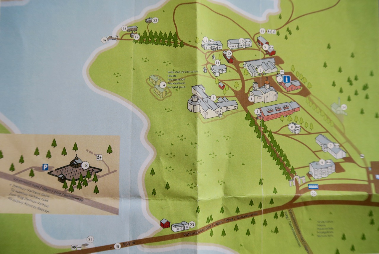 Översiktskarta över Valamo kloster.