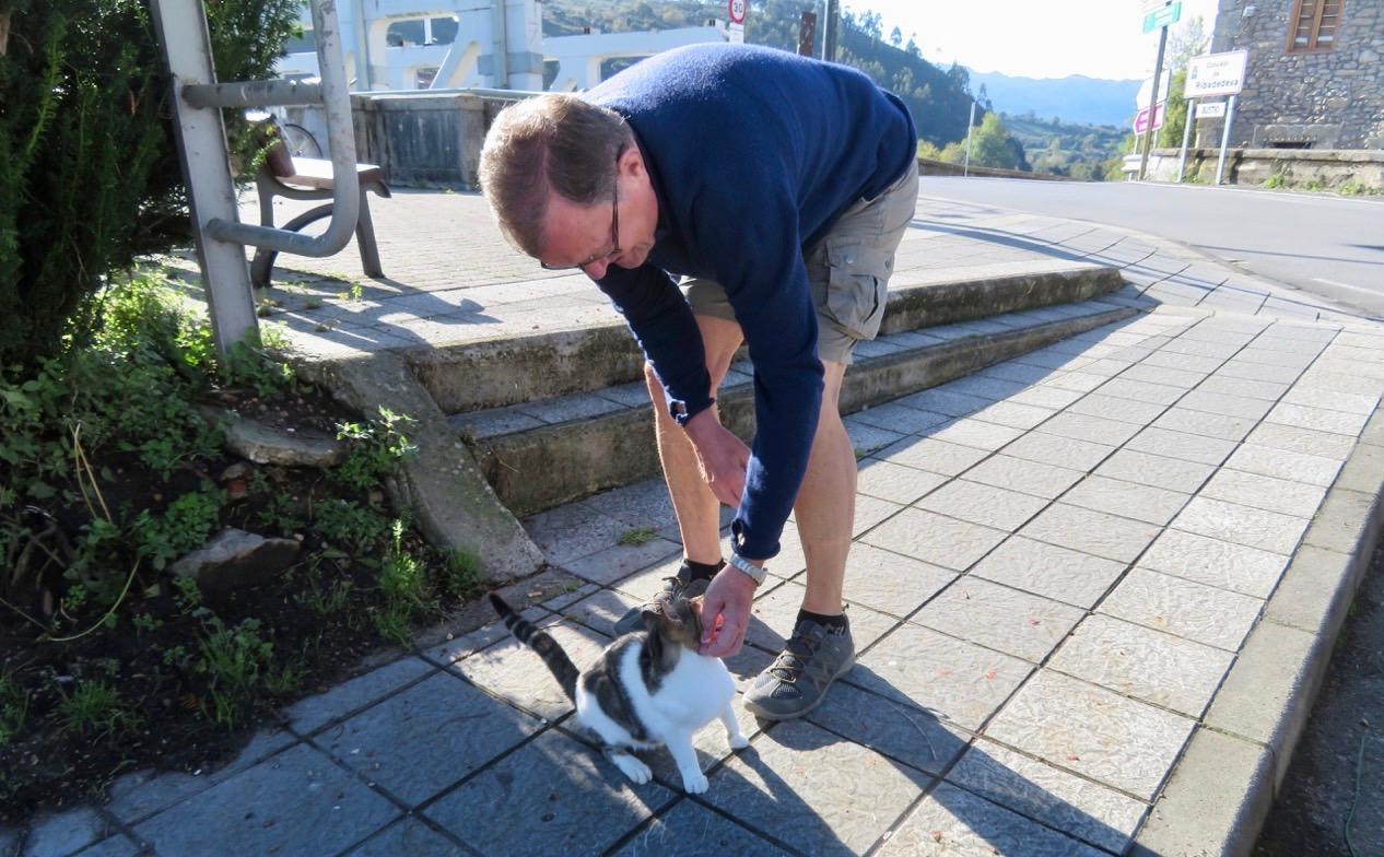Förutom möten med olika människor i byn Unquera bleb det ett fin möte med en katt.