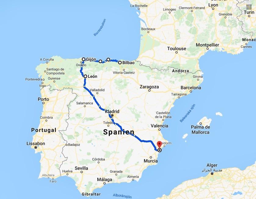 Kanske kommer vår resa med tåg att gå från Bilbao till Gijón. Vi vet inte ännu..