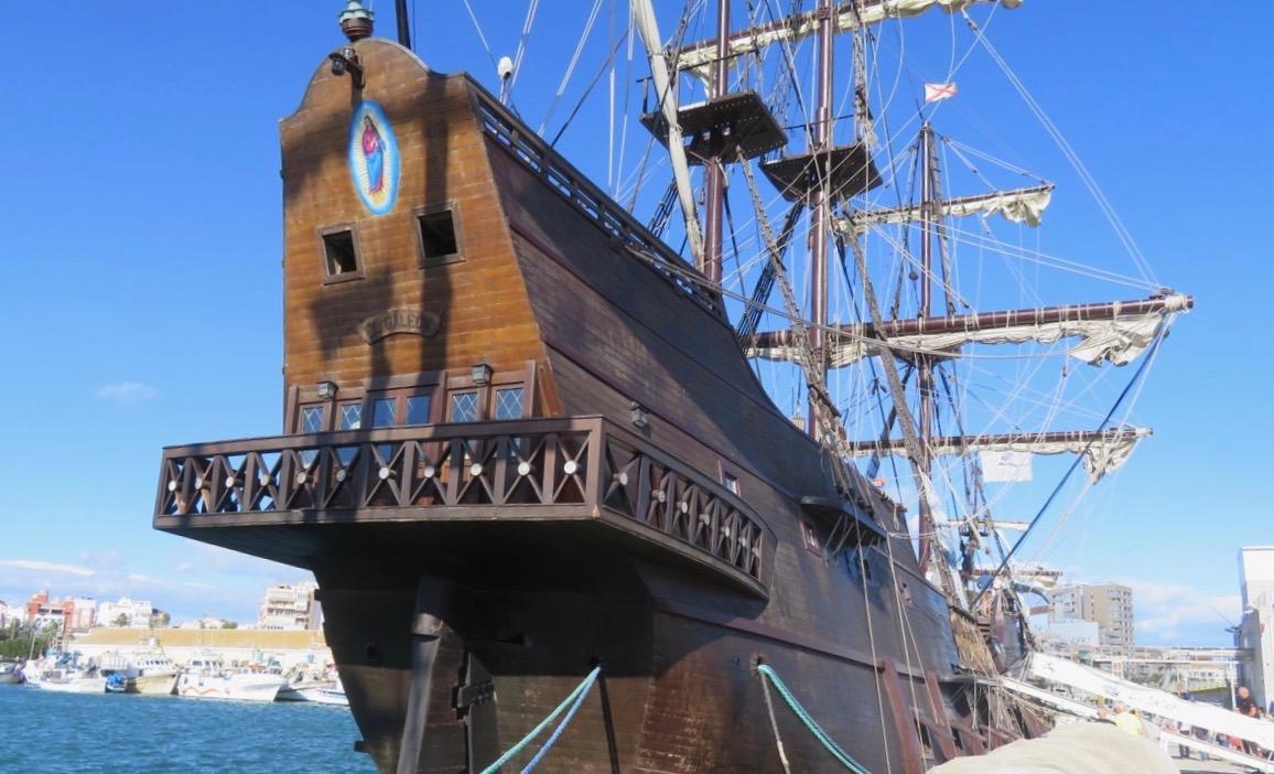 """Hav och skepp hör ihop. Här """"historiska"""" Galeón Andalucia på besök i Torrevieja."""