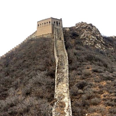 Utsikten när man tagit sig upp här på kinesiska muren är ett pris i sig. Och upplevelsen också