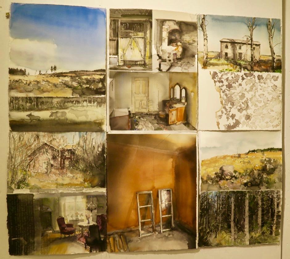 Här har Lars Lerin satt samman nio akvareller till ett collage. Och i alla bildern är ljuset så påtagligt.