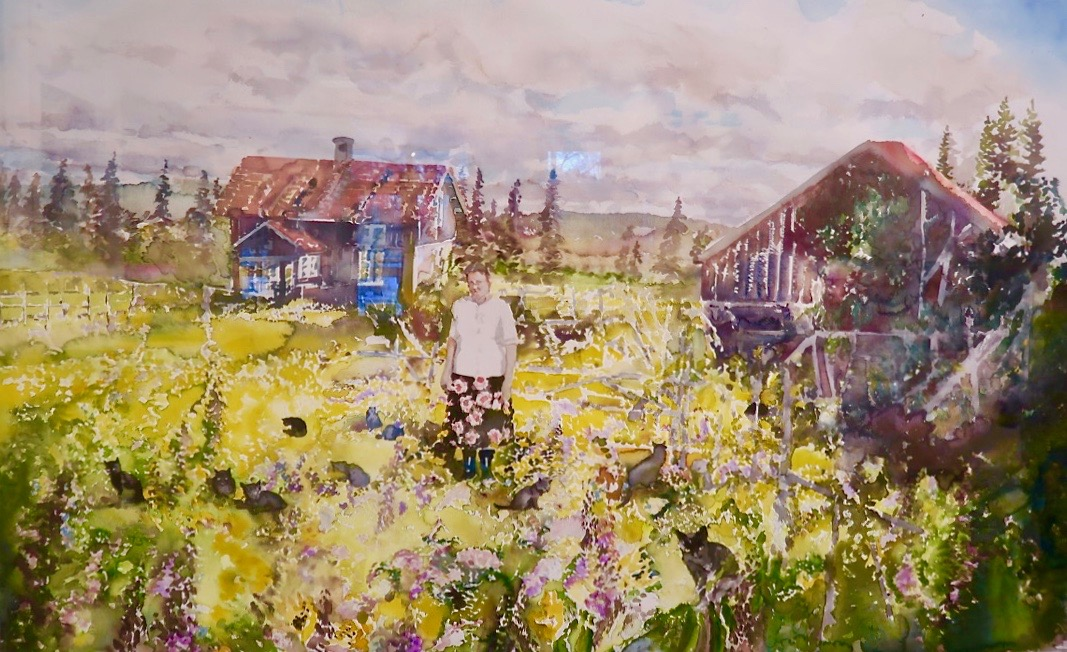 Övre Lid i Värmland. Lars Lerin är förtjust i katter och här i målningen finns det många.
