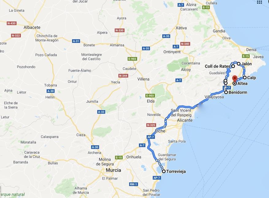 Resan vi gjorde längs spanska Costa Blanca är markerad med blått.