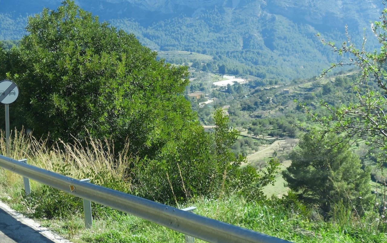 Vi är på väg en bit upp i bergen längs spanska Costa Blanca och tittar efter de mandelträd som vi vet ska komma.