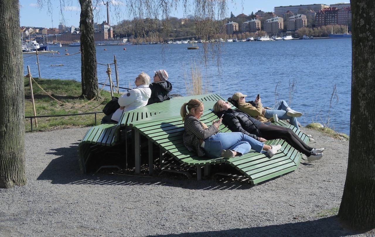 Trevligt att som turist ta en paus vid Riddarfjärden.