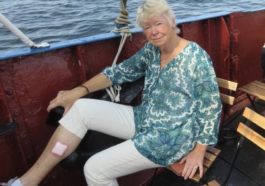 I slutet av augusti, här på väg med skärgårdsbåt till Gustavsberg, har jag fortfarande besvär av den sticka jag fick in i vaden i juli månad.