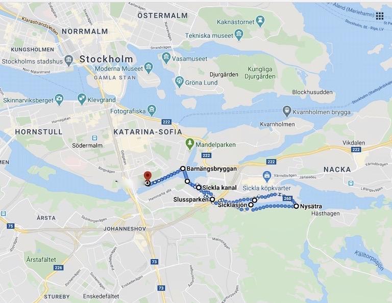 """Start och mål vid den röda """"pluppen"""". Vi gick i utkanten av Nackareservatet och rundade Sicklasjön"""