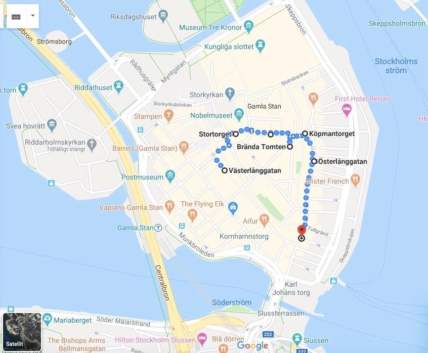 Jag gick genom Gamla stan via Västerlånggatan, Stortorget, Köpmangatan. Brända tomten, Österlånggatan och Järntorget.