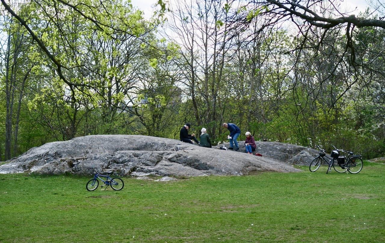 Picknick mitt i naturen. Med viss distans.