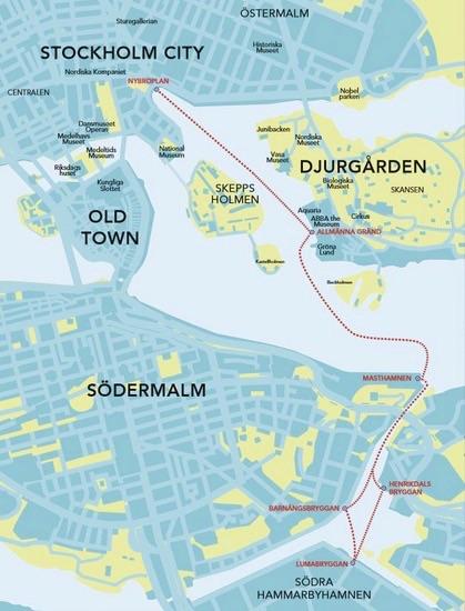 Pendelbåt från Barnängsbryggan på Södermalm till Nybroplan i City
