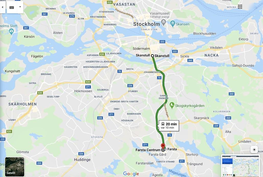 Tunnelbanans gröna linje tog mig söderut från Skanstull till Farsta.