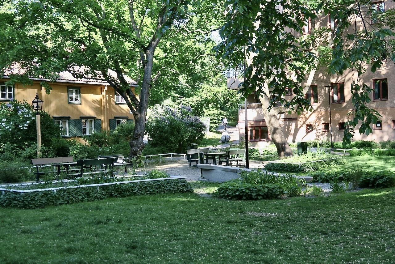Alldeles lagom att sitta en stund bland den vakcra grönskan på Färgargårdstorget.