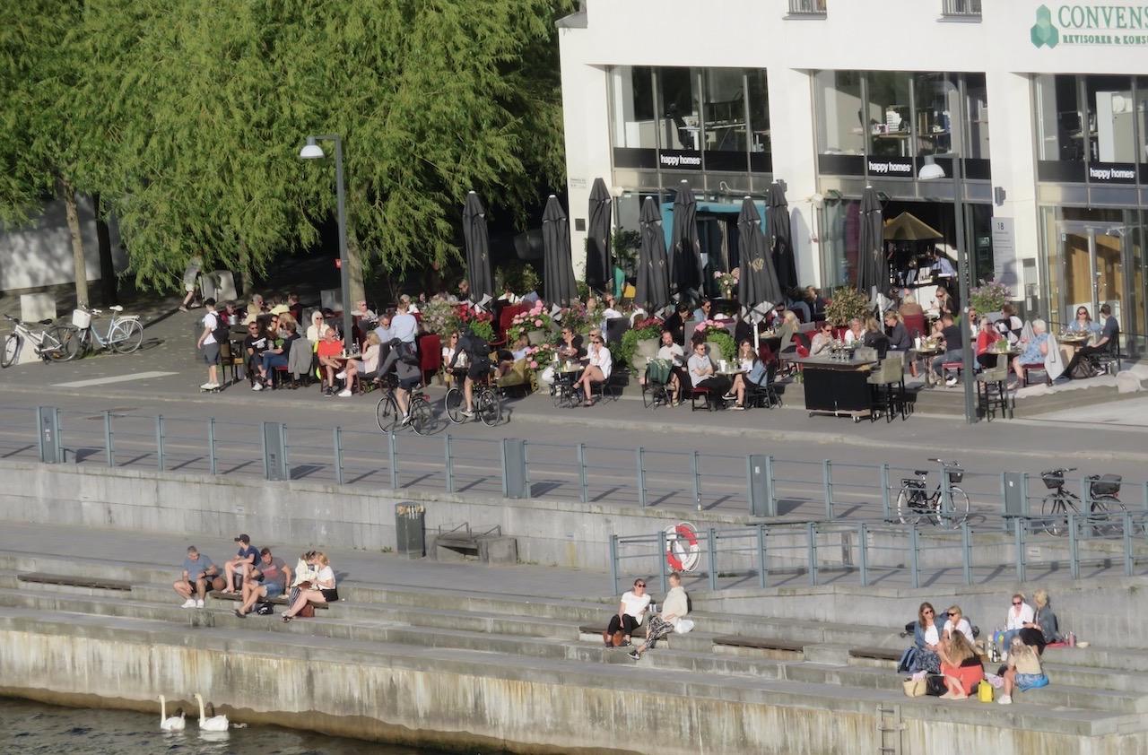 PÅ andra sidan Hammarbykanalen. Folk och svanar i farten. För egen del är jag åskådare från balkongen på andra sidan kanalen 160 meter bort.
