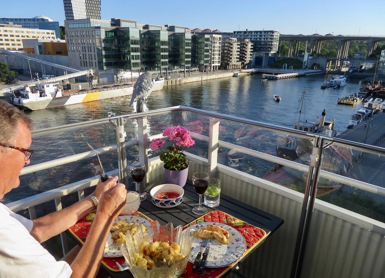 Hammarbykanalen. Middagsutsikt som var underhållande och intressant.