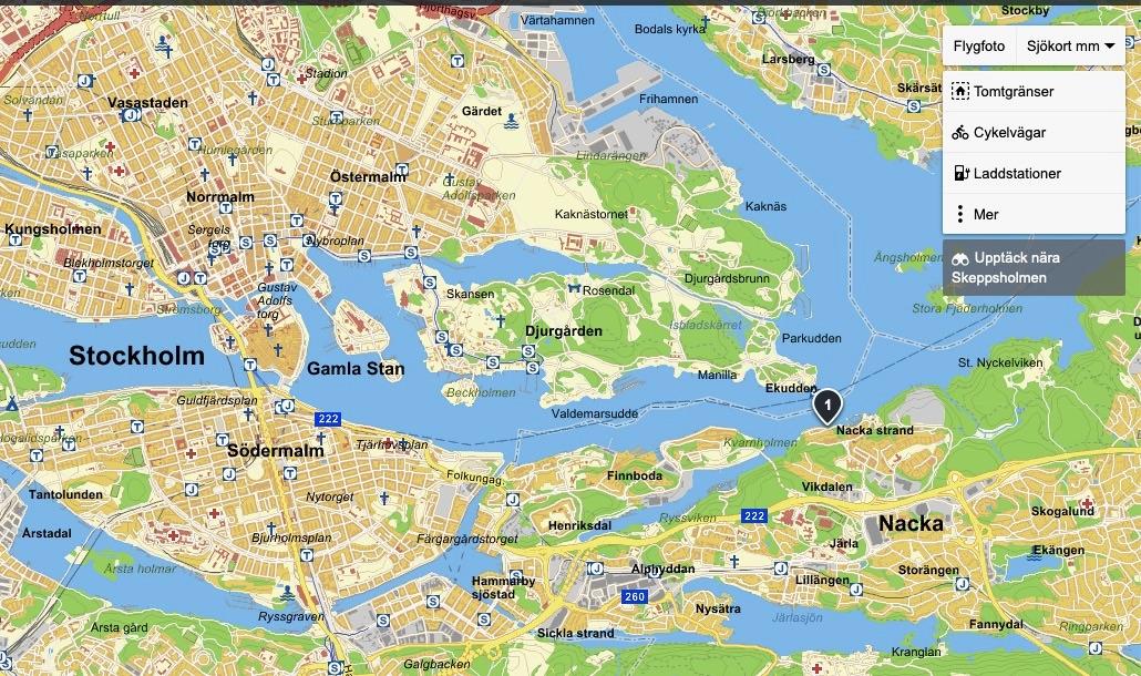 Nacka strand är markerat med ett. Karta från Eniro.