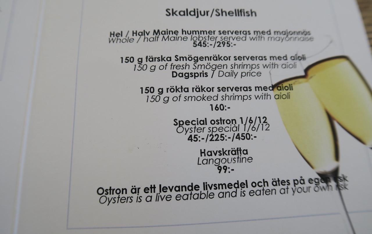 En hel del gott och blandat fanns på Restaurang J:s meny. Och ett gott utbud av skaldjur.
