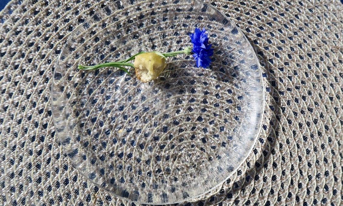 Stockholm. Balkong. Försökte locka till mig en fluga med hjälp av en bullbit och en blåklint.
