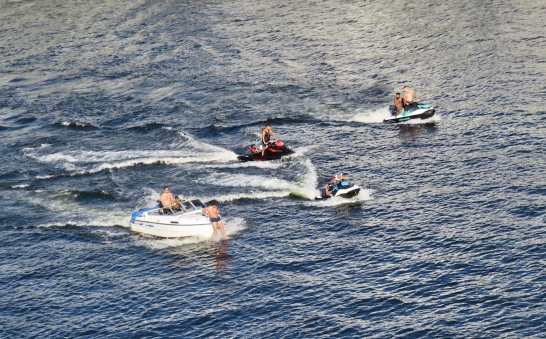 Stockholm. Hammarbykanalen. Vattenskotrar som leker i vattnet. Utan att ta hänsyn.